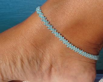Ankle bracelet, anklet, Turquoise Blue seed bead Anklet, Diagonal Daisy Chain Ankle Bracelet, Beach Anklet,