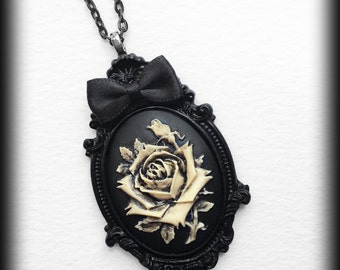 Gothic Rose Necklace, Victorian Cameo Pendant, Antique Ivory Rose, Gothic Jewelry, Romantic Jewelry, Handmade Necklace, Valentines Gift