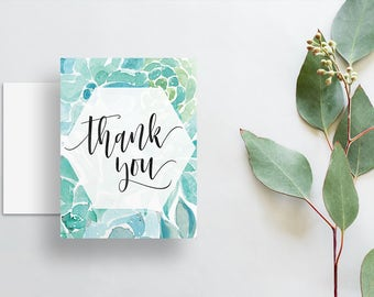 Watercolor Floral Thank You Cards / Blue Green Aqua Watercolor Succulents / Calligraphy / Thank You Notes / Printed Folded Thank You Cards