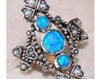 Blue Fire Opal & Seed Pearl 925 Solid Sterling Silver Ring Jewelry Sz