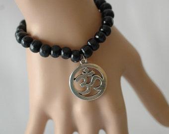 Stretch Bracelet, Black Wooden Bracelet, Ohm Bracelet, Gift for her, Yoga Bracelet, Boho Bracelet, Valentines Gift
