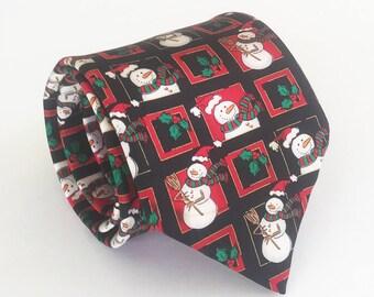 Men's Christmas tie: Snowman tie, novelty Christmas tie, Xmas tie, Christmas necktie