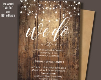 We do Invitation, printable wedding Invite, Rustic Wedding, Barn wedding Templates, Instant Download Self-Editable PDF A209