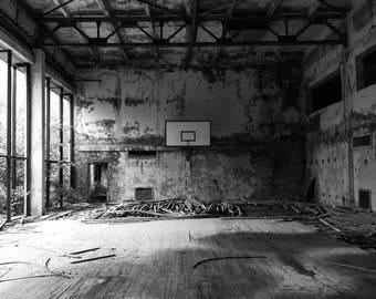 Chernobyl Photography, Pripyat Photography, Ukraine Photography, Ukraine Art, Black And White, Basketball Court, Ghost Town, Abandoned, Art