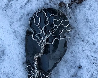 Dragonglass (Obsidian) Wire-Wrapped Tree of Life Arrowhead Necklace