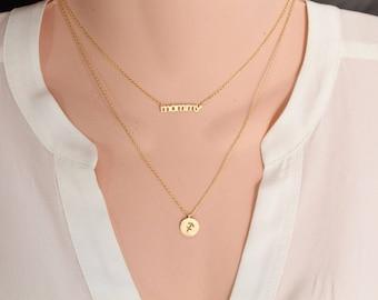 Mommy necklace etsy mommy necklace rose goldsilvergold necklace choker length mothers day aloadofball Gallery