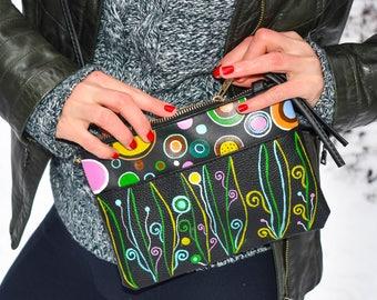 Hand-painted  imitation leather shoulder bag