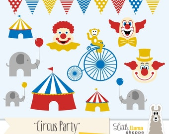 Circus Clip Art, Circus Clipart, Clown Clipart, Circus Tent, Carnival, Circus Party Decor, Circus Invitations, Commercial Use