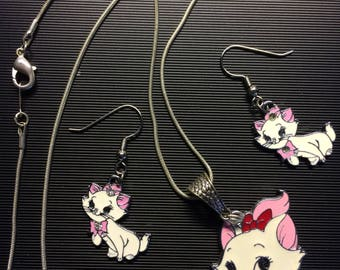 """Aristocats theme, 16"""" Necklace, Ear Ring set           ARC-3"""