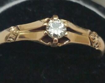 Antique   Victorian  14k Yellow Gold .20ct  Diamond  Belcher Ring, 1890s