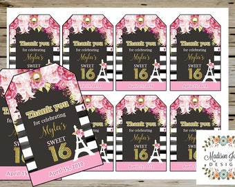 White & Black Birthday THANK YOU Tags, SWEET 16 Pink Flowers Thank You Tags, Sweet Sixteen Birthday Party Favors, Gold Glitter, Eiffel Tower