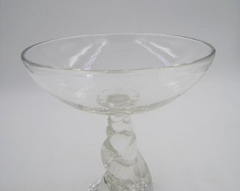 Crystal Bowl with Tall Pedestal, NOT signed