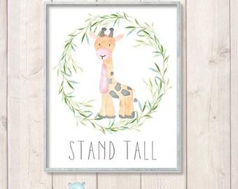 Safari Nursery Prints, Giraffe Watercolor Animal Art, Safari Baby Shower Decor, Nursery Watercolor Print, Instant Download