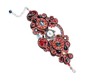 Free shipping USA & Canada. Soutache Ladies Wrist Watch with Swarovski Crystals, Rhinestones, Freshwater Pearls. Bead Embroidered Red Watch