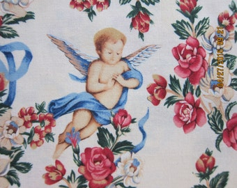 "RARE ANGEL FABRIC  Alexander Henry ""the lady's angels"" - 1 Yard - k13"