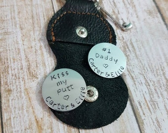 Golf ball markers set of two hand stamped personalised markers with leather Keychain case
