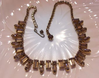 Brown Amber Rhinestone Choker Necklace Vintage Perfect for Mother of the Bride, Bridal or Prom