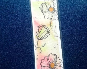 Pink flower bookmark