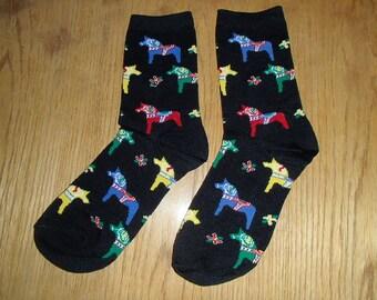 Swedish Dala Horse Black Socks - Acrylic - Size Medium #26489