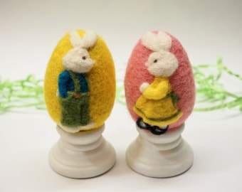 Felted Eggs - Boy & Girl Bunny Set - Needle Felted Bunny Easter Eggs - set of two