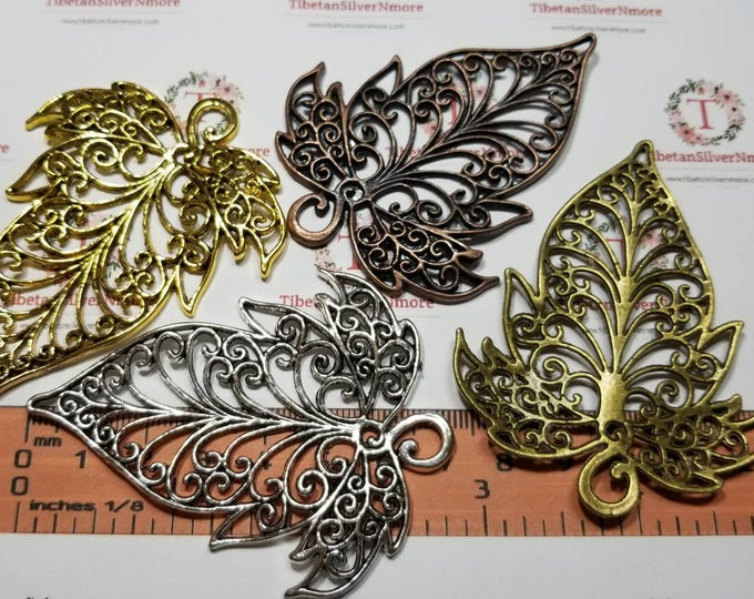 2 pcs per pack of 71x55mm Large Filigree Leaves in color to choose Finish Lead Free Pewter