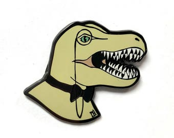 Dapper Dino Enamel Pin - Fancy Tyrannosaurus Rex with Bow Tie and Monocle - Art by Marcia Furman