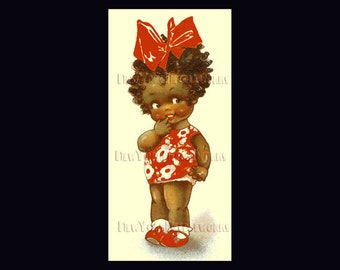 Black Americana Girl Cross Stitch, Cross Stitch, Black Americana, Needlepoint, Vintage Postcard, Girl Pattern  by NewYorkNeedleworks on Etsy