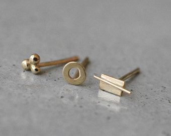 Solid gold stud earrings, mix and match earrings, Small Studs earrings, minimalist, 14k gold stud earrings, dainty studs, stud earrings
