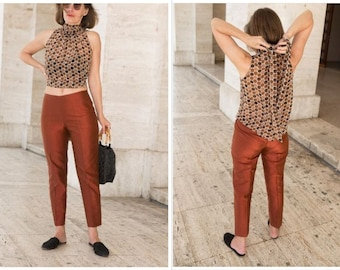 Stirrup Pants Patron Couture Womens Trousers 70s Pants Cropped Pants High Waist Trousers Tapered Pants Mod High Waisted Pants