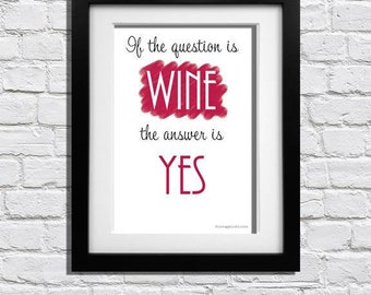 Red Wine Quote framed print || Select your size | Wall art | Wall prints | Home decor | Nursery | Typography | Friends