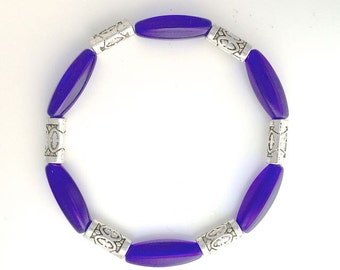 Cobalt and Safe Pewter Bracelet Lg 71/2 ins.