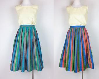 vintage reversible skirt/ stripe skirt/ midi skirt/ women's size S