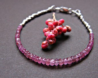 Tourmaline bracelet, rose pink tourmaline silver bracelet, layering bracelet, delicate gemstone bracelet, Thai Karen silver bracelet
