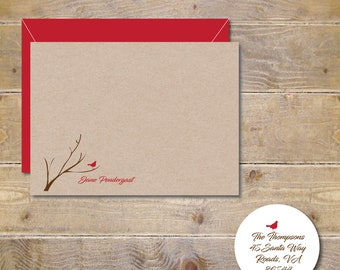 Bird Note Cards, Cardinal Stationery, Bird Stationery, Cardinals, Cardinal Thank You Notes, Personalized Stationery, Thank You Cards