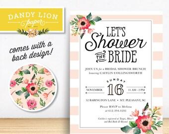 Blush Pink Stripes + Painted Flowers Bridal Shower Brunch Digital Invitation - DIY Printable