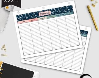 Password Tracker, Password Log, Password Tracker, Password PDF, Horizontal Floral theme 8.5 x 11 - AMBP-206.15