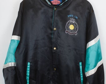 Vintage jacket, vintage college jacket, 90s clothing, 90s, black and turquoise, baseball