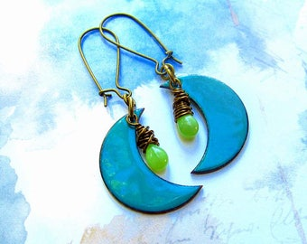 turquoise earrings Boho earrings Moon earrings copper Enamel dangle drop earrings Bohemian jewelry