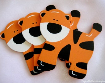 """Tiger Wooden Animal Ornaments for Safari / Jungle Themed, Baby Shower Centerpieces, Diaper Cake, Baby Room Decor, 4.5"""" x 4.25"""" 3 or 6 pieces"""