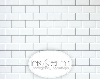 "Photography Backdrop 3ft x 2ft, Subway Tile Backdrop, White tile backsplash backdrop, Food photography background backdrop, ""Subway Tile"""