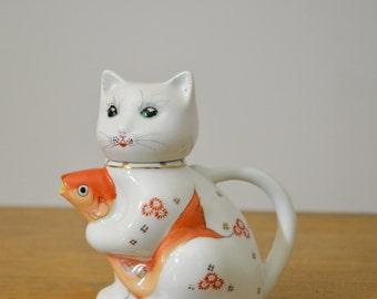Vintage Ceramic Cat with Fish Tea Pot or Creamer. 1950s handpainted small tea pot