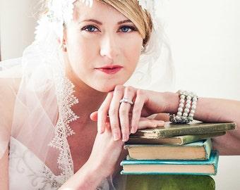 White Lace Art Deco Juliet Veil