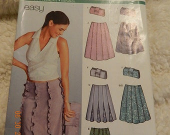 Skirt and Purse Pattern by New Look 6248 Size A 8-18 Uncut