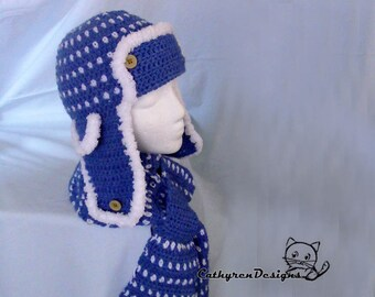 Aviator Hat and Scarf Set, 4 Sizes Child-Adult, INSTANT DOWNLOAD Crochet Pattern