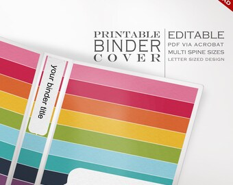 Binder Cover - Printable Editable Rainbow Stripes Theme Instant Download - Multiple Spine Sizes - Organization Classroom Homeschool