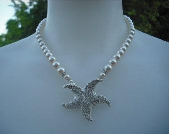 Starfish Version 3, Rhinestone Center Necklace, Bridal Necklace, Rhinestone and Pearl Necklace, Vintage Style, Wedding Jewelry