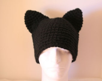 Adult size unique handmade black cat winter hat with cat ears - currently made to order