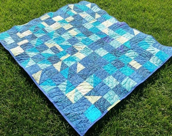 Blue Batik Toddler Quilt/Blanket