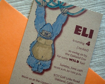 Zoo Safari Jungle Birthday Party Invitations with Gorilla and Snake - DESIGN FEE