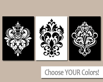 BLACK WHITE Wall Art, Damask Decor, Bedroom Pictures, CANVAS Or Prints,  Black